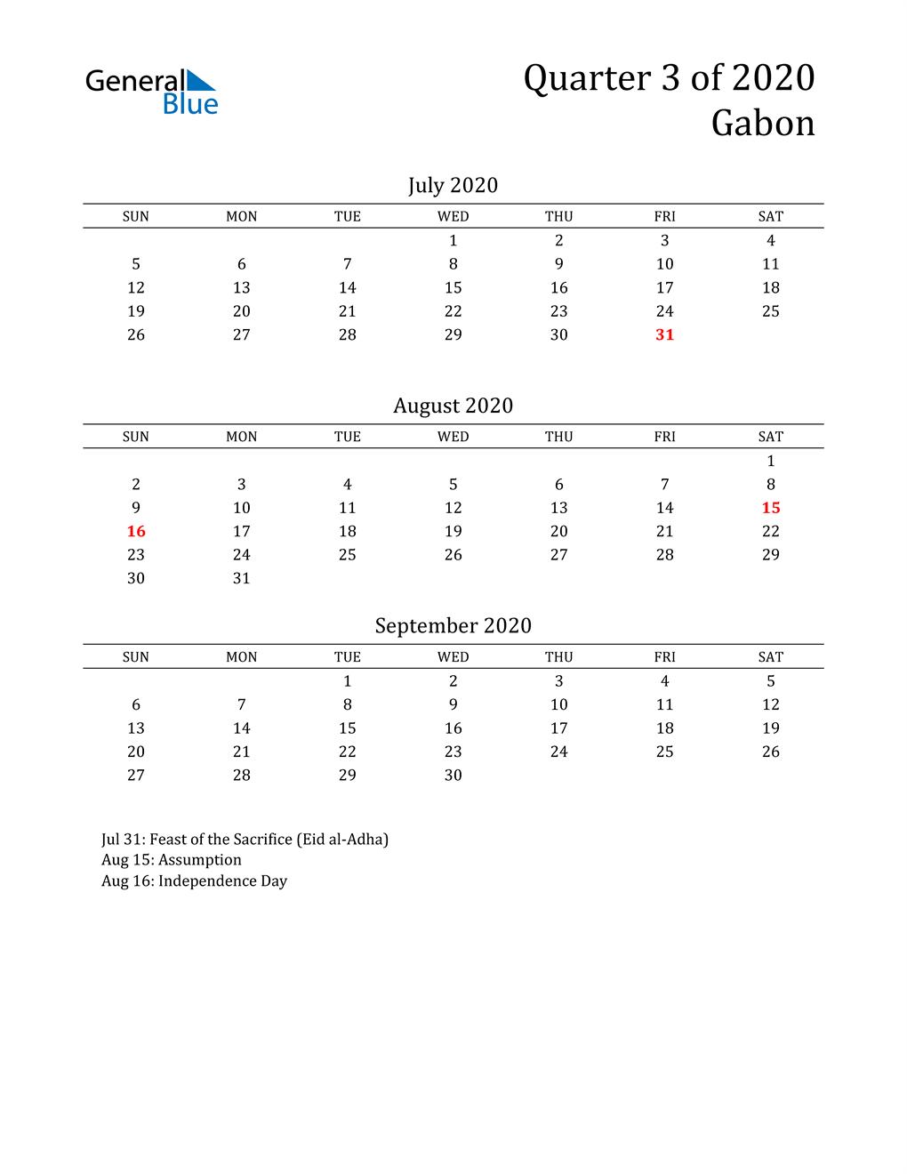 2020 Gabon Quarterly Calendar