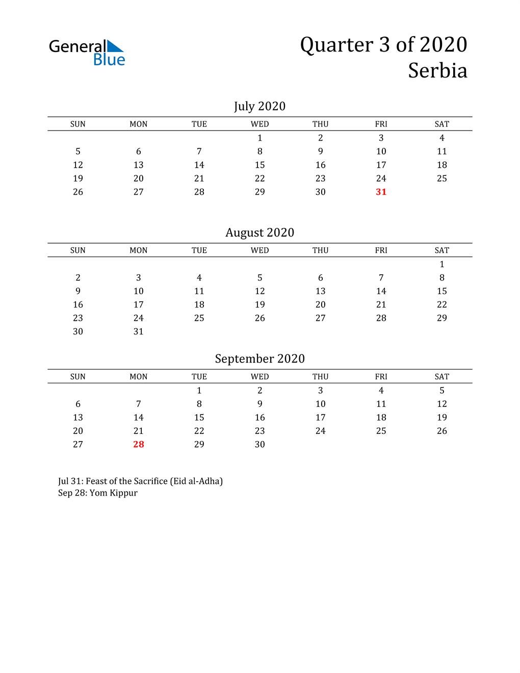 2020 Serbia Quarterly Calendar