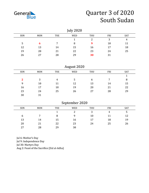 2020 South Sudan Quarterly Calendar