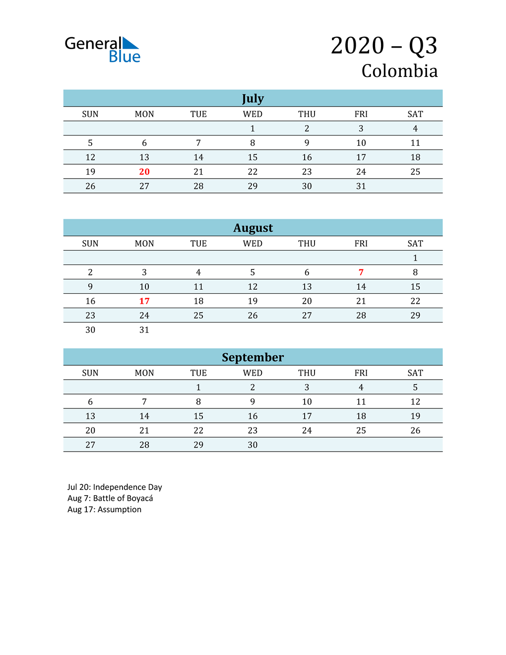 Three-Month Planner for Q3 2020 with Holidays