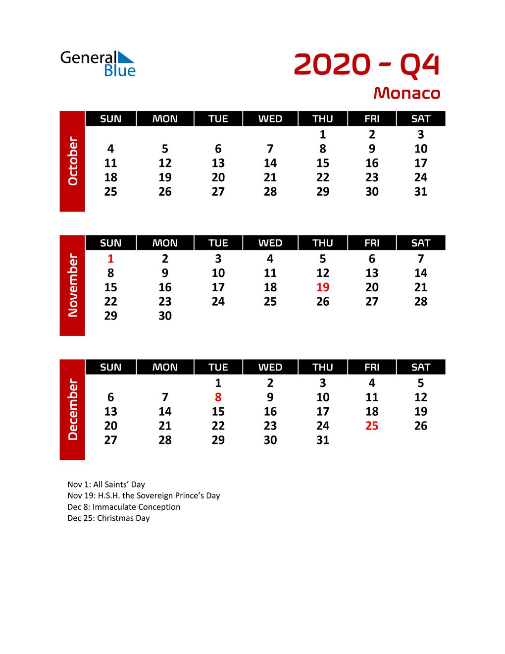 Q4 2020 Calendar with Holidays