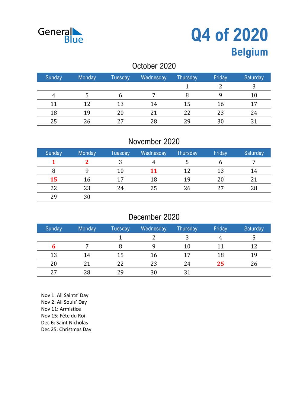 Belgium 2020 Quarterly Calendar