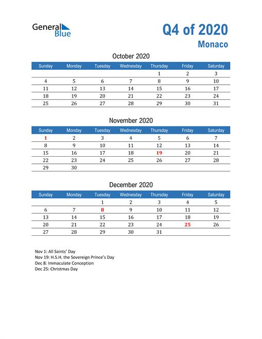 Monaco 2020 Quarterly Calendar