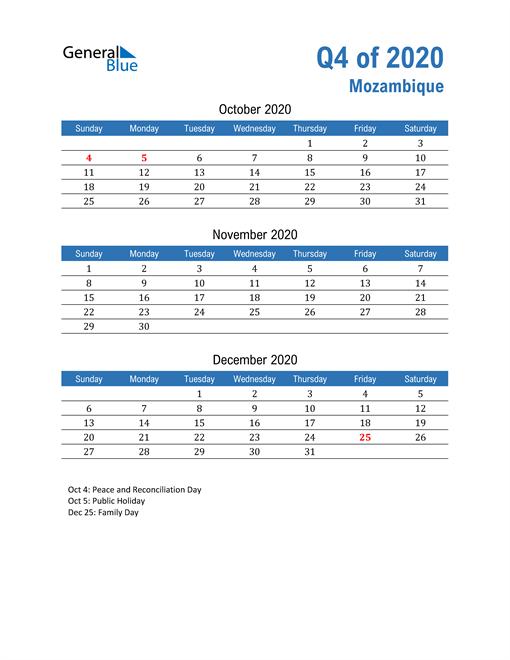Mozambique 2020 Quarterly Calendar