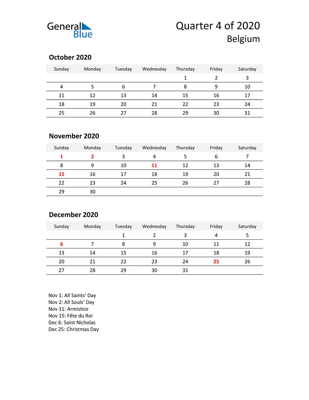 2020 Three-Month Calendar for Belgium