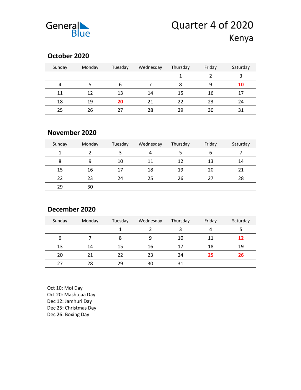2020 Three-Month Calendar for Kenya