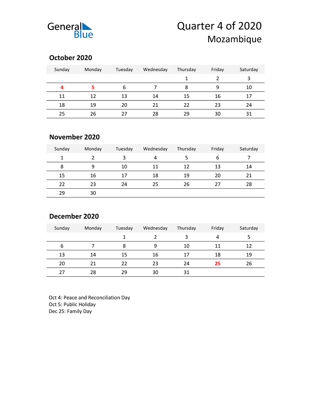 2020 Three-Month Calendar for Mozambique