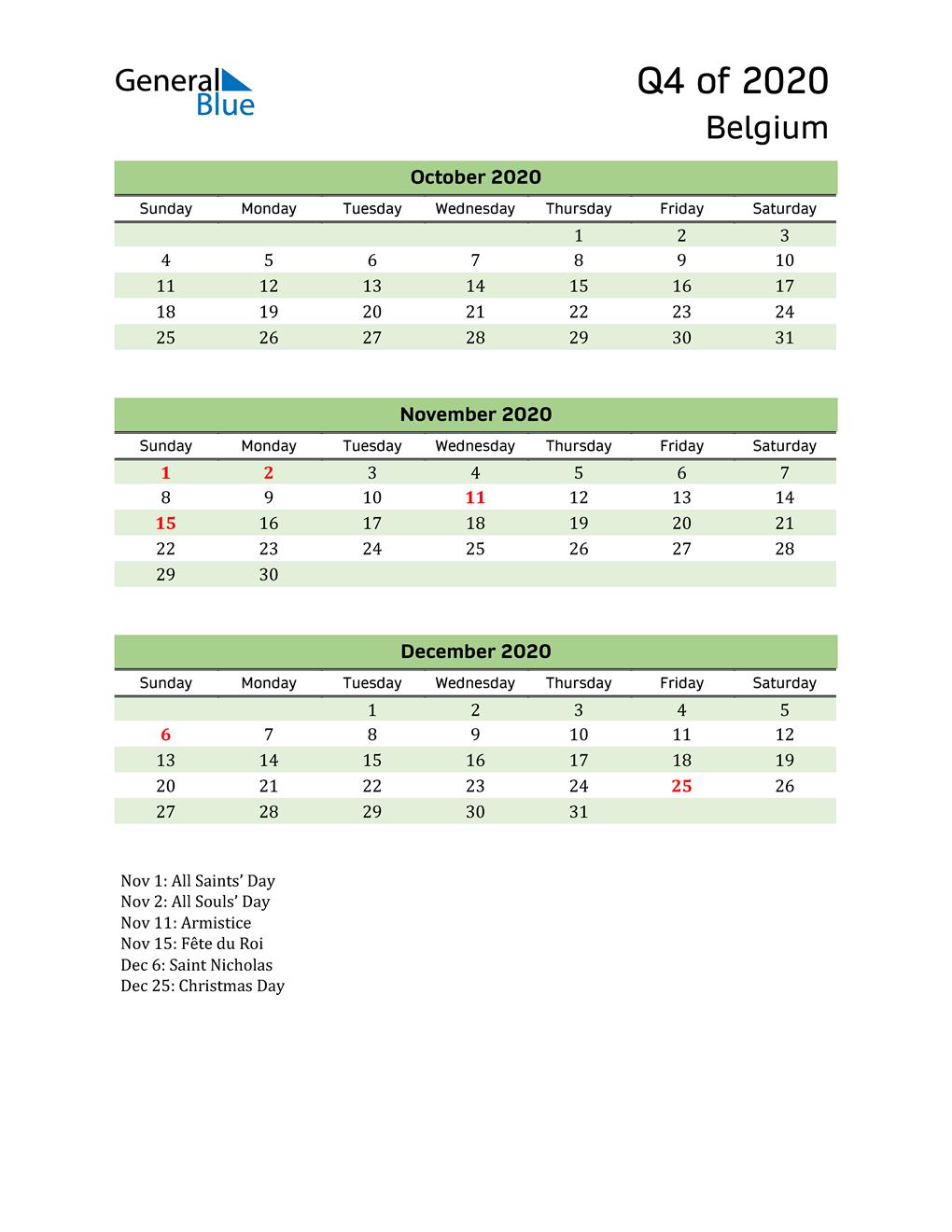 Quarterly Calendar 2020 with Belgium Holidays