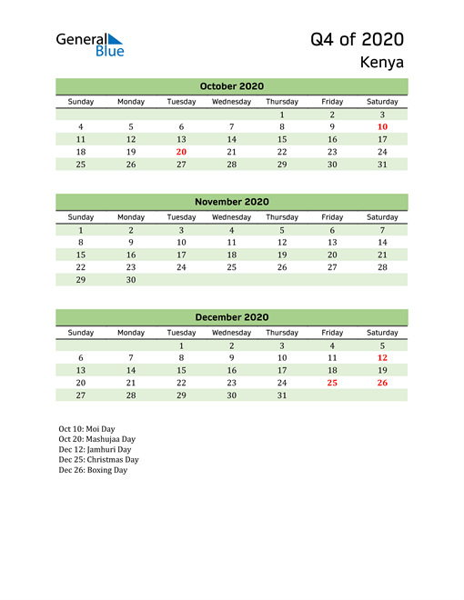 Quarterly Calendar 2020 with Kenya Holidays