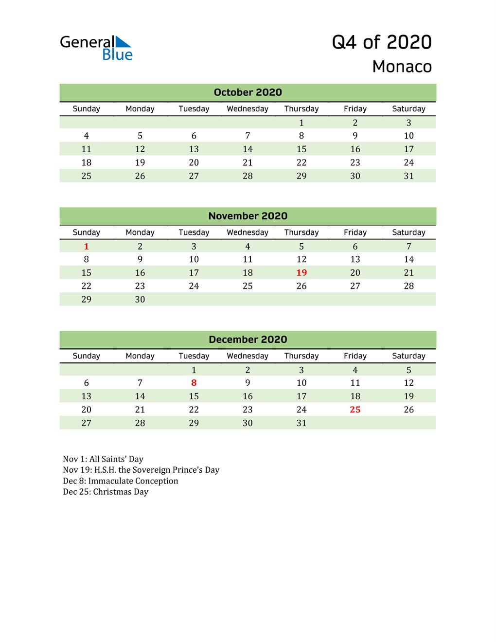 Quarterly Calendar 2020 with Monaco Holidays