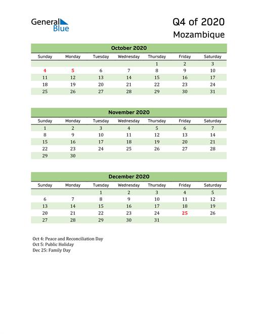 Quarterly Calendar 2020 with Mozambique Holidays