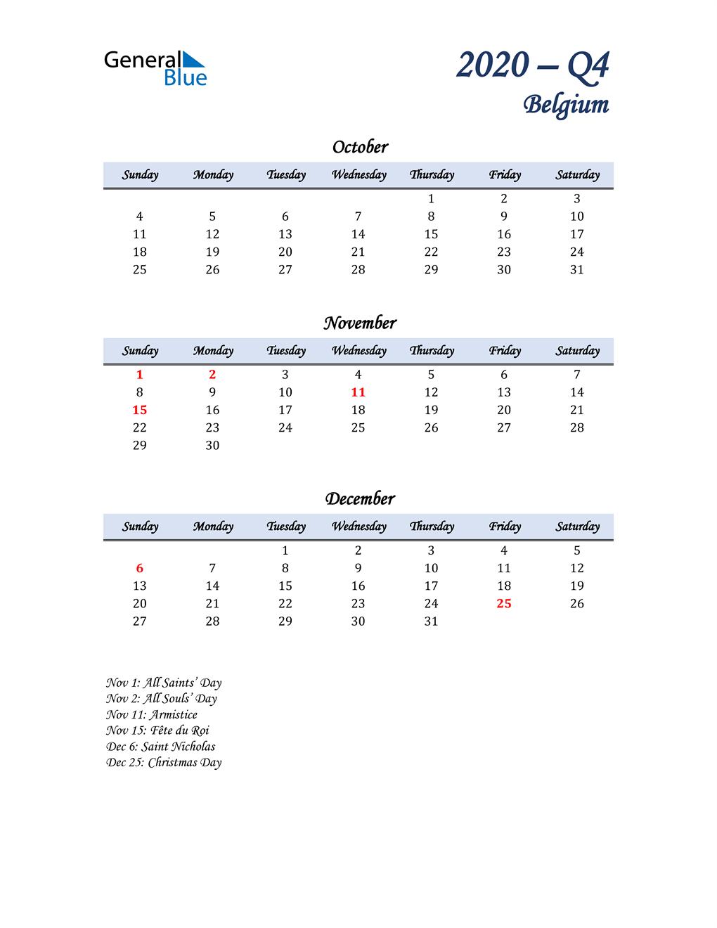October, November, and December Calendar for Belgium
