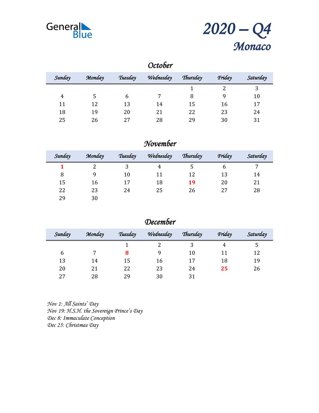 October, November, and December Calendar for Monaco