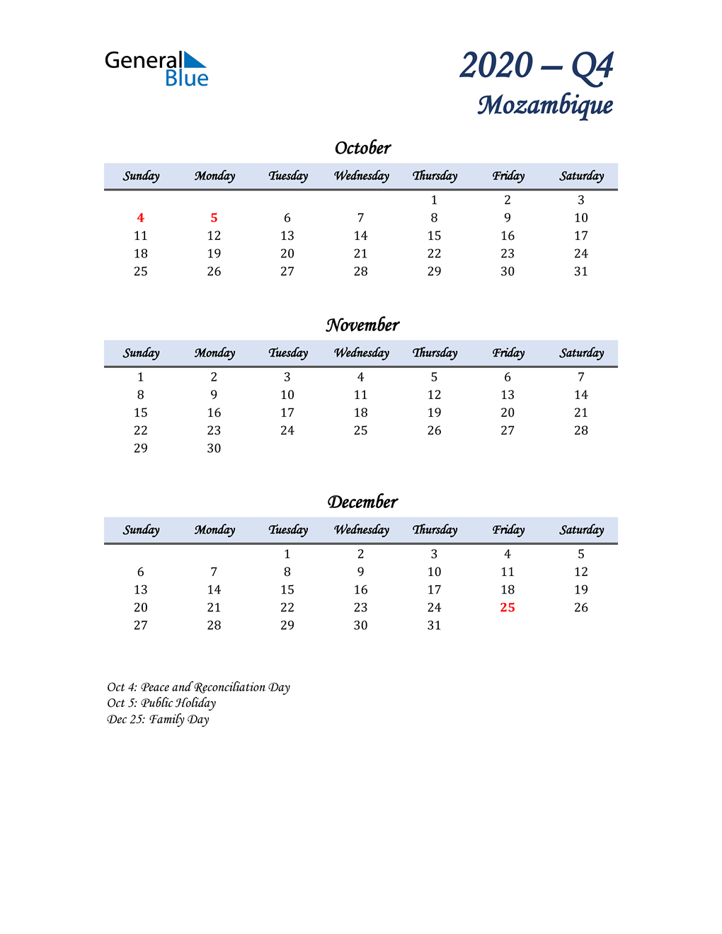 October, November, and December Calendar for Mozambique