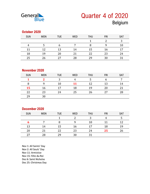 Printable Three Month Calendar for Belgium