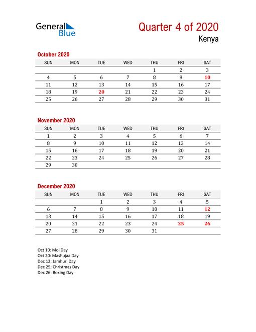 Printable Three Month Calendar for Kenya