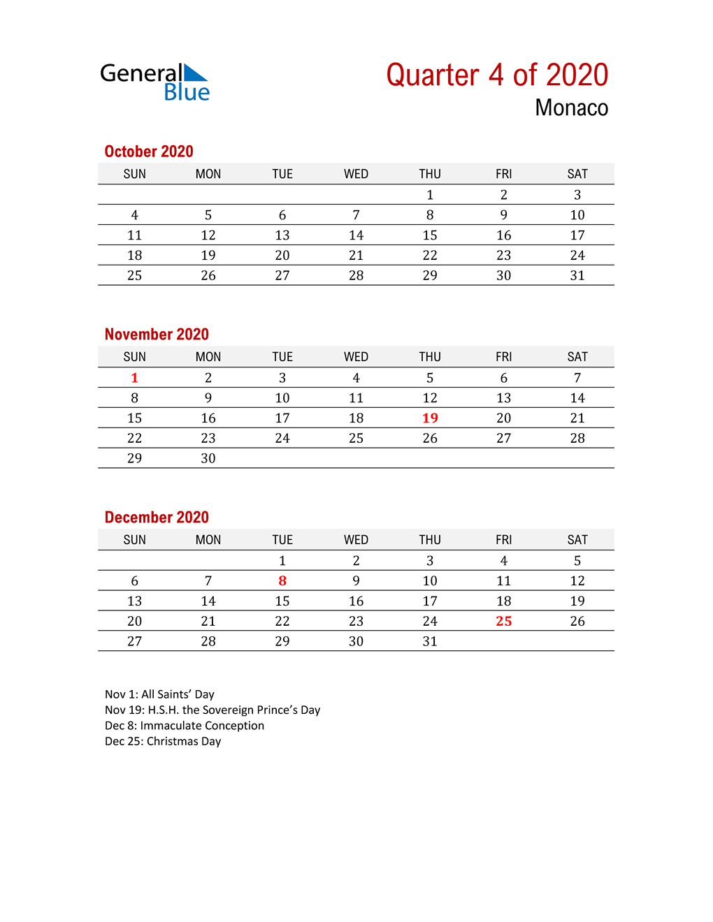 Printable Three Month Calendar for Monaco
