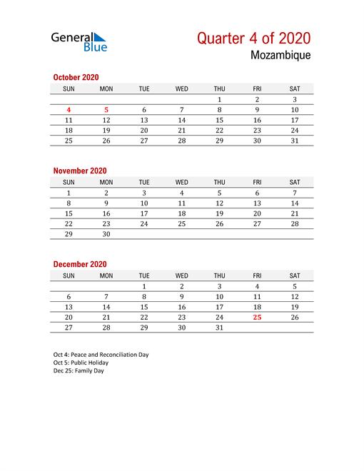 Printable Three Month Calendar for Mozambique