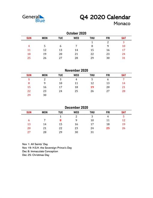 2020 Q4 Calendar with Holidays List