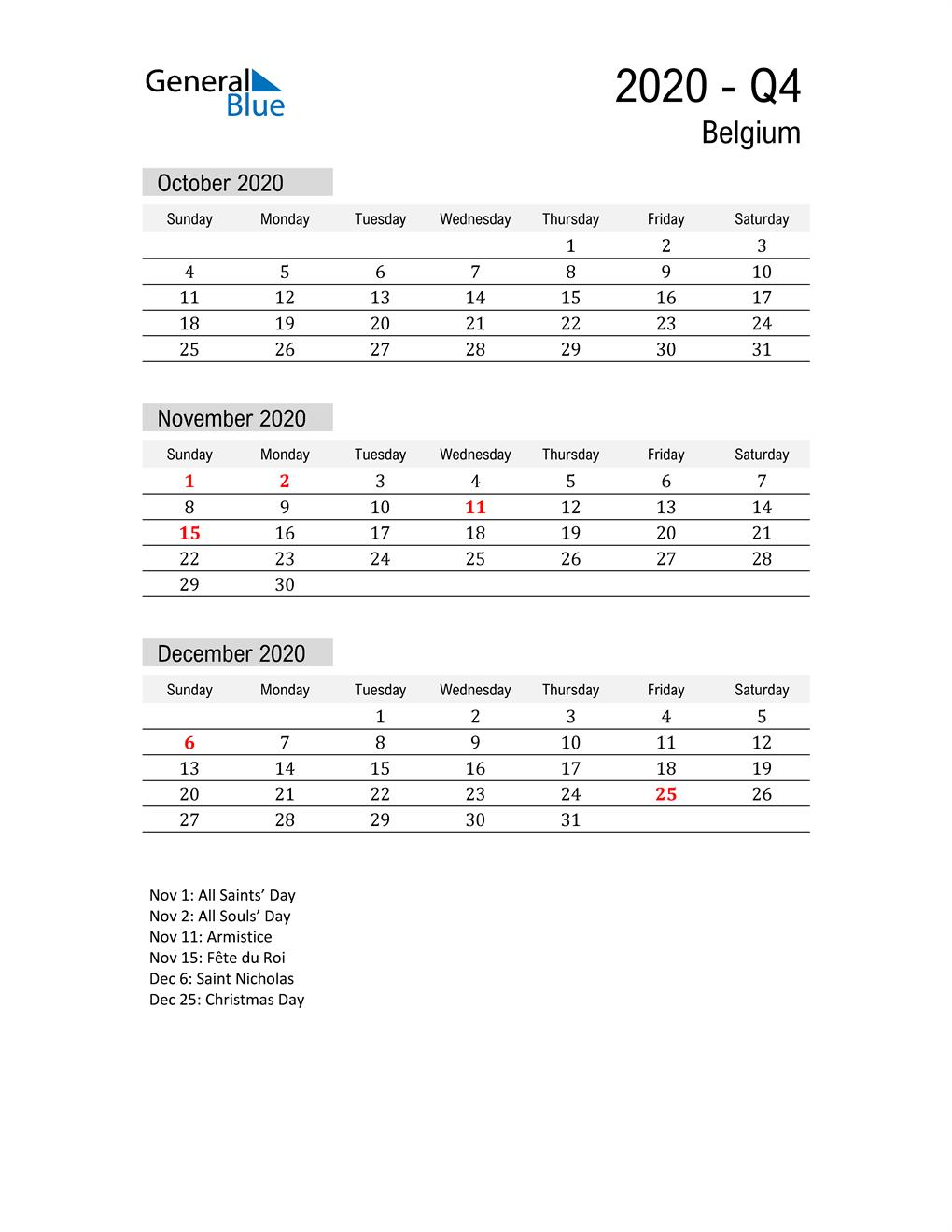 Belgium Quarter 4 2020 Calendar