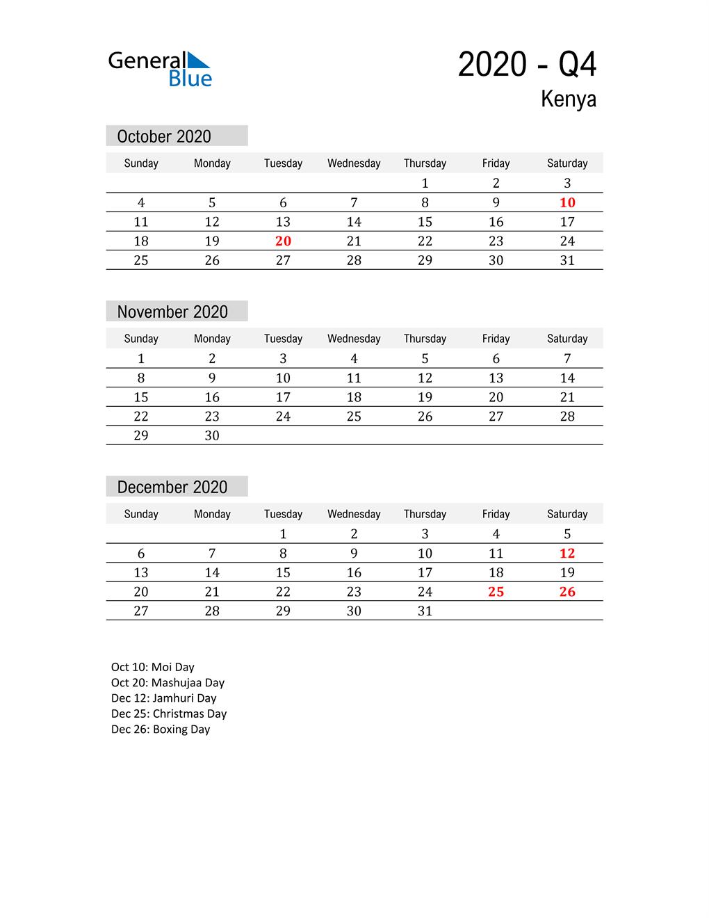 Kenya Quarter 4 2020 Calendar