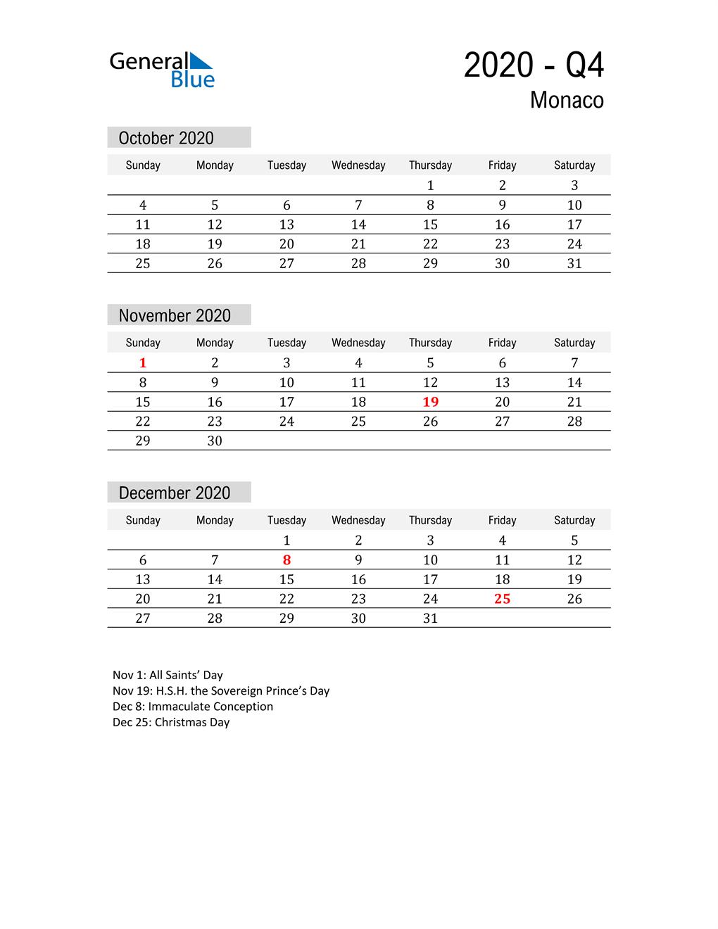 Monaco Quarter 4 2020 Calendar