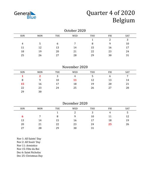 2020 Belgium Quarterly Calendar