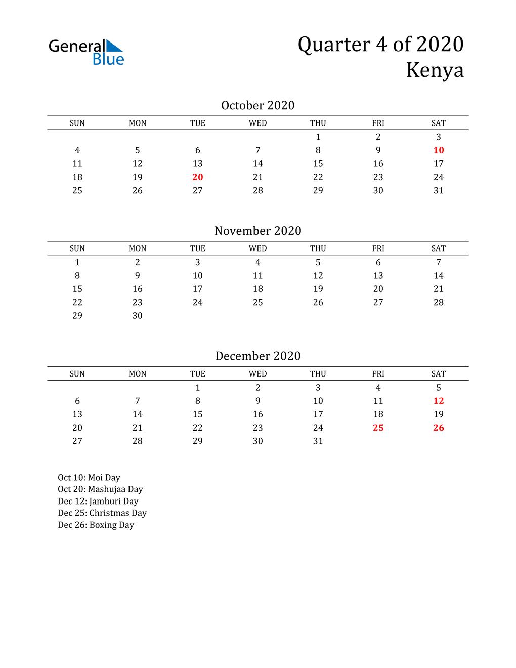 2020 Kenya Quarterly Calendar