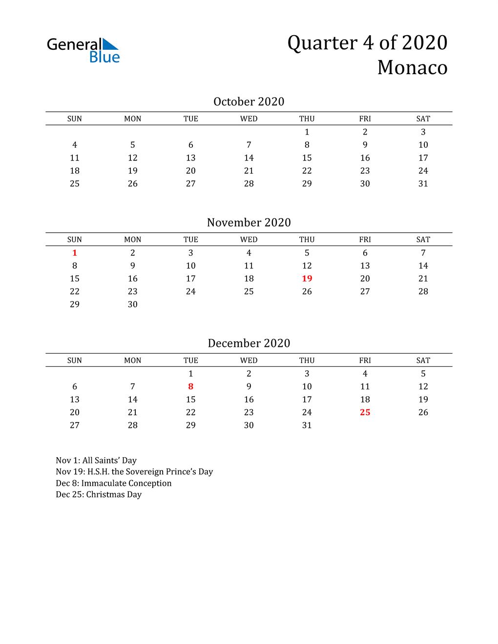 2020 Monaco Quarterly Calendar