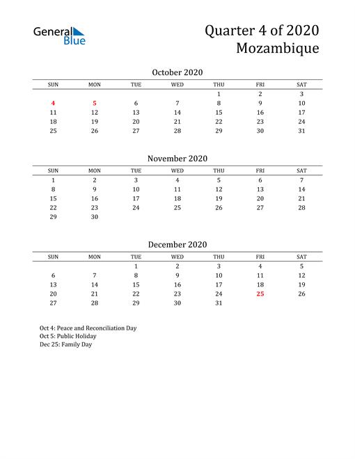 2020 Mozambique Quarterly Calendar
