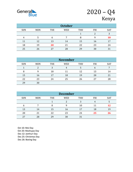 Three-Month Planner for Q4 2020 with Holidays