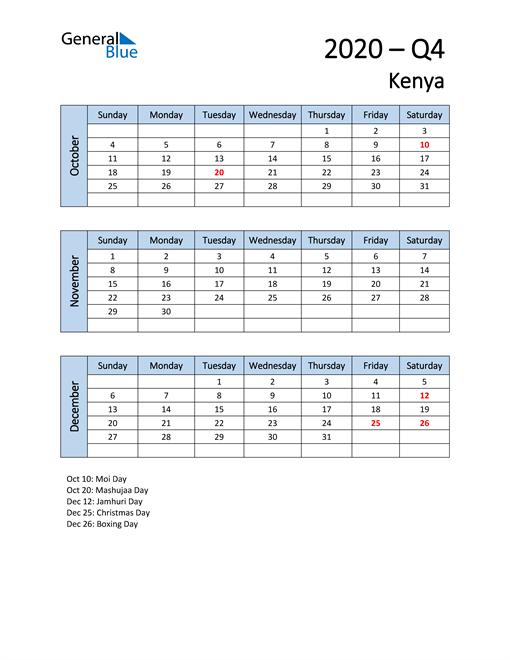 Free Q4 2020 Calendar for Kenya