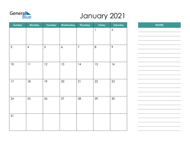 January 2021 Calendar with Notes