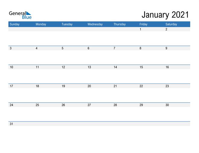 Fillable Calendar for January 2021