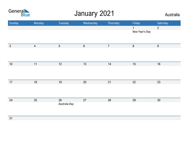 Fillable January 2021 Calendar