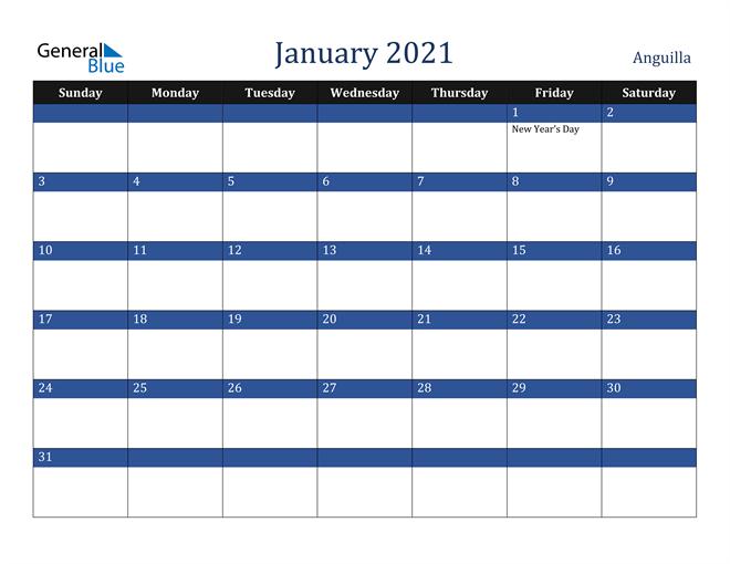 Image of January 2021 Stylish Dark Blue Calendar in PDF, Word and Excel Calendar