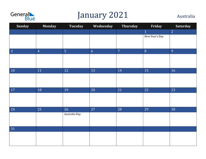 January 2021 Australia Calendar