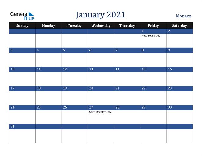 January 2021 Stylish Dark Blue Calendar in PDF, Word and Excel Calendar