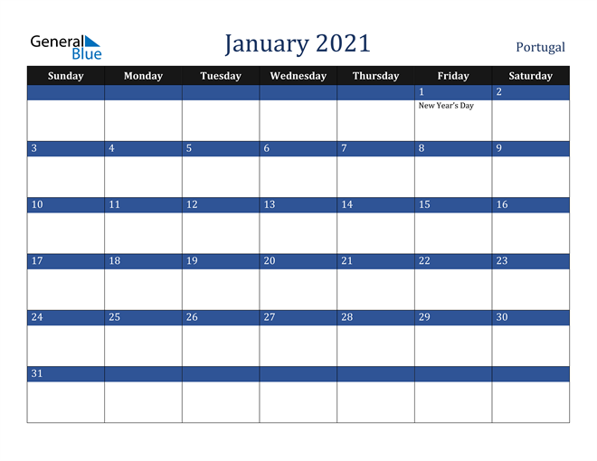 Image of January 2021 Stylish Dark Blue Calendar in PDF, Word and Excel Calendar