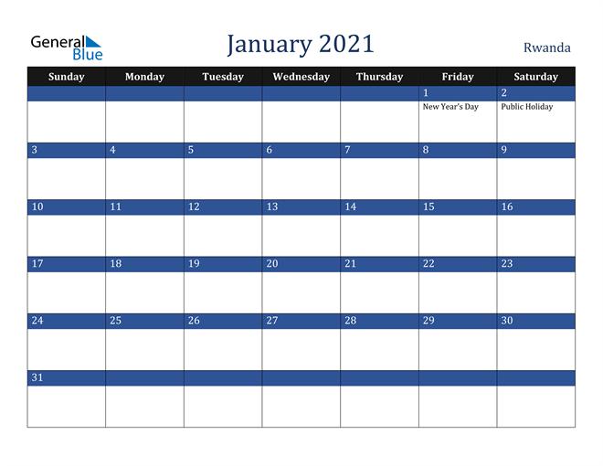 January 2021 Rwanda Calendar
