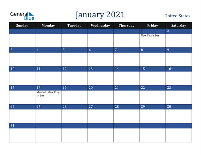 January 2021 United States Calendar
