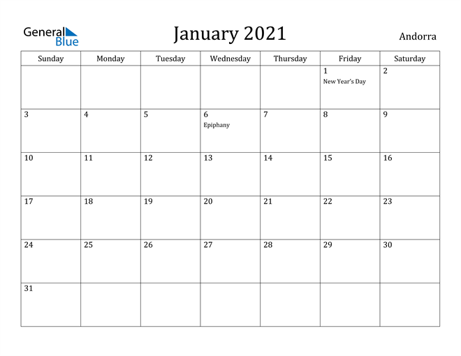 Image of January 2021 Andorra Calendar with Holidays Calendar