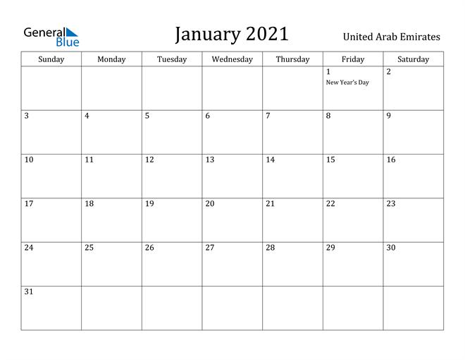 Image of January 2021 United Arab Emirates Calendar with Holidays Calendar
