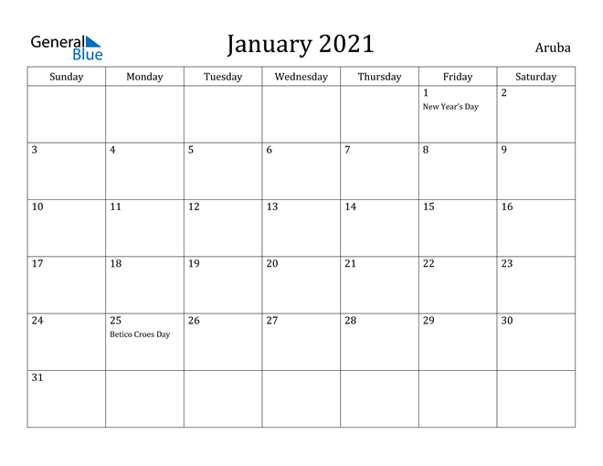 Image of January 2021 Aruba Calendar with Holidays Calendar