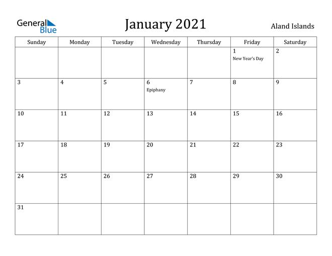Image of January 2021 Aland Islands Calendar with Holidays Calendar