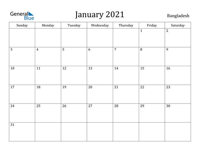Image of January 2021 Bangladesh Calendar with Holidays Calendar