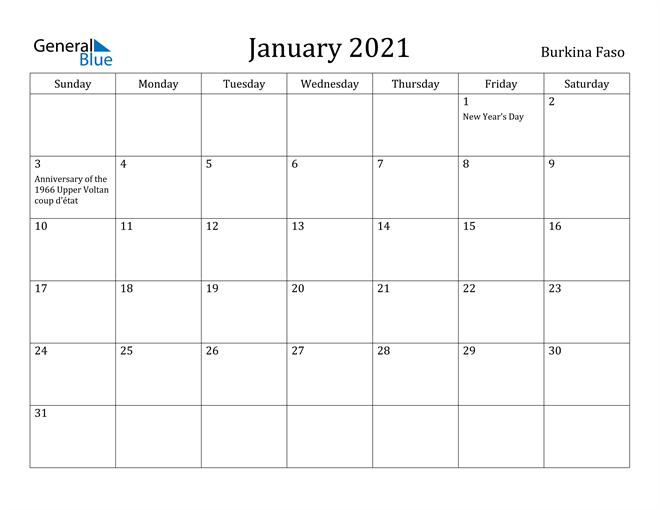 Image of January 2021 Burkina Faso Calendar with Holidays Calendar