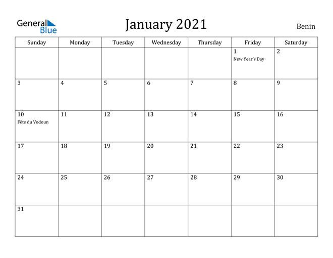 Image of January 2021 Benin Calendar with Holidays Calendar