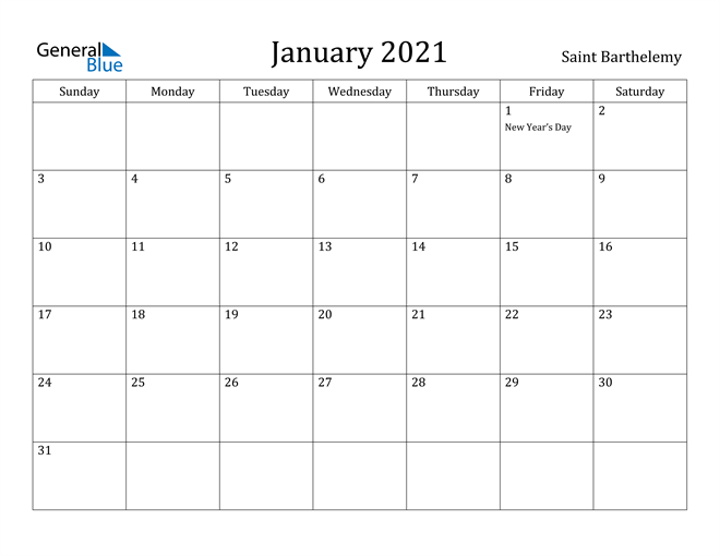 Image of January 2021 Saint Barthelemy Calendar with Holidays Calendar