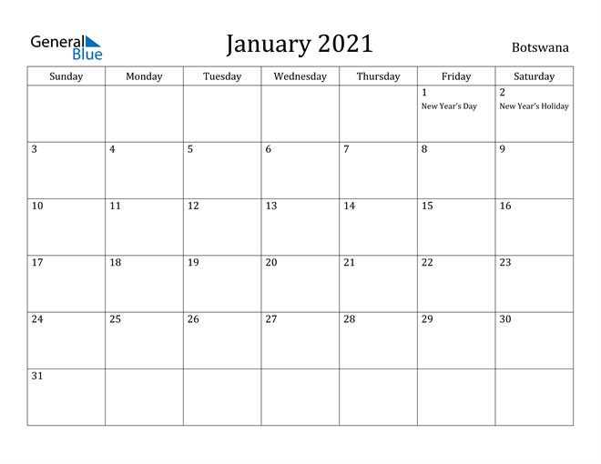 Image of January 2021 Botswana Calendar with Holidays Calendar